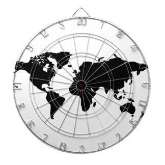 Black and white world illustration dartboard
