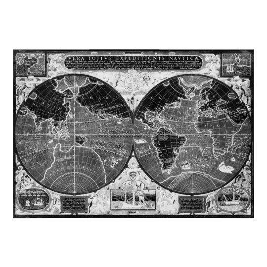 Black and white World Map (1595) Inverse Poster