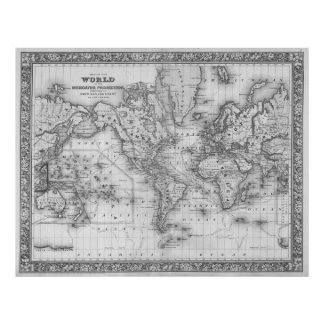 Black and white world map posters prints zazzle black and white world map 1864 poster gumiabroncs