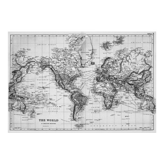 Black and White World Map (1892) Poster