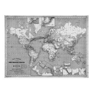 Black And White World Map Posters Prints Zazzle Uk