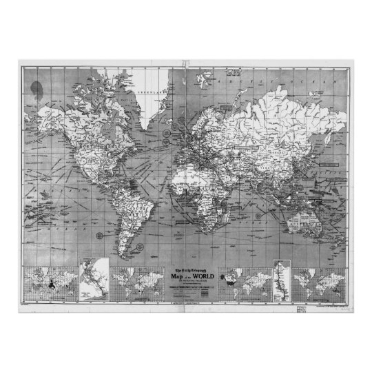 Black and White World Map (1918) Poster