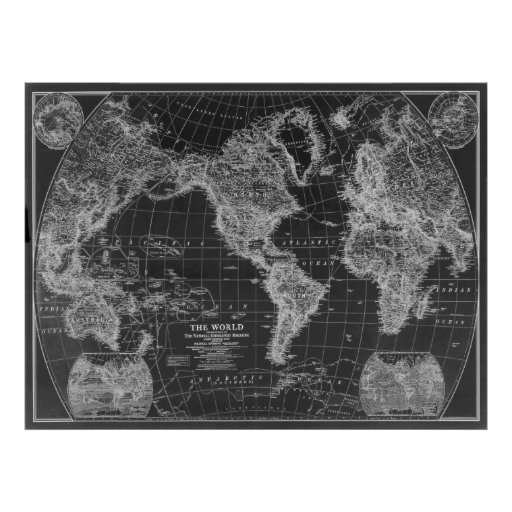 Black and White World Map (1922) Inverse Poster