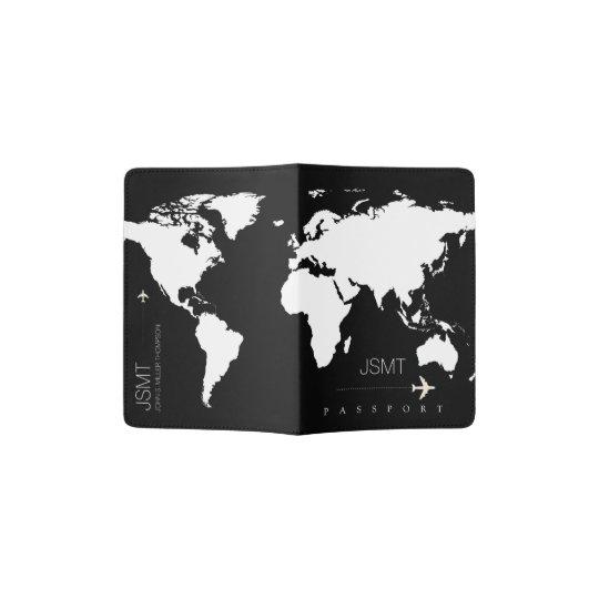 black-and-white world map, modern travel passport holder