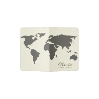 BLACK AND WHITE WORLD MAP MONOGRAM PASSPORT HOLDER