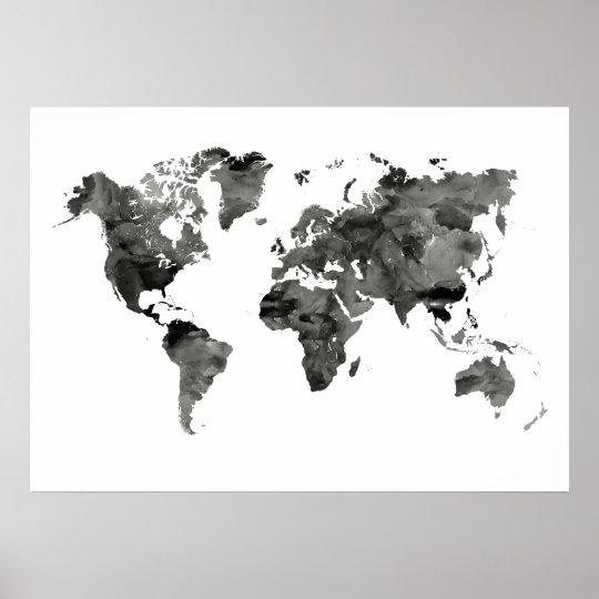 Black And White World Map Poster Zazzle Co Uk