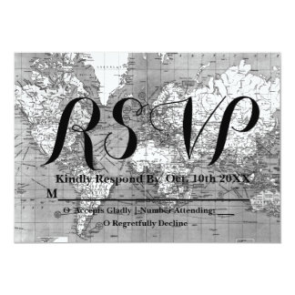 Black and White World Map Wanderlust RSVP Card