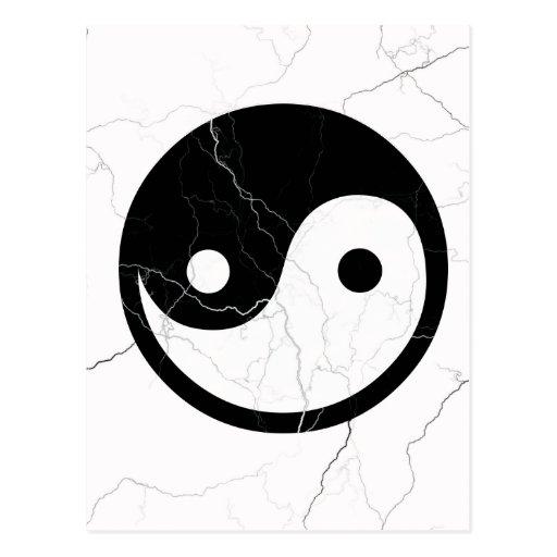 Black and White Yin and Yang Postcard