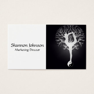 Black and White Yin Yang Tree Business Card