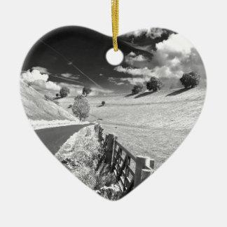 Black and white Yorkshire Ceramic Heart Decoration