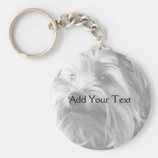 Black and White Yorkshire Terrier Yorkie Key Ring