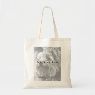 Black and White Yorkshire Terrier Yorkie Budget Tote Bag