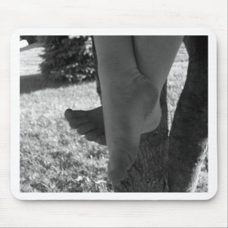 Black and White Young Feet Mouse Pads
