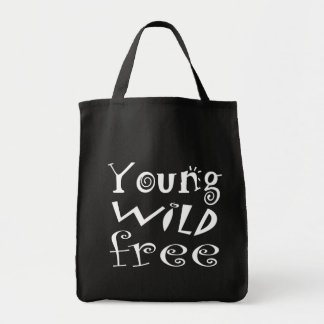 """Black and White """"Young Wild Free"""" Typography Quote Grocery Tote Bag"""