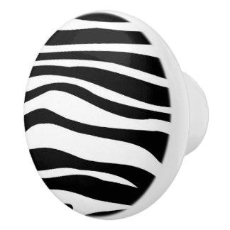 Black and White Zebra Animal Print Pattern Ceramic Knob