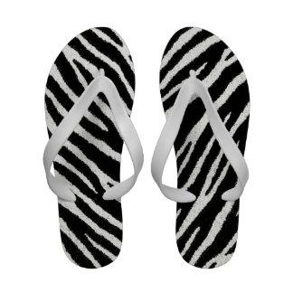 Black and white Zebra flip flops