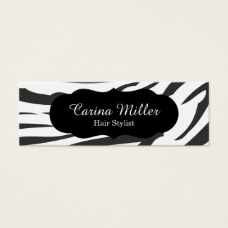 Black and White Zebra Hair Stylist Mini Business Card
