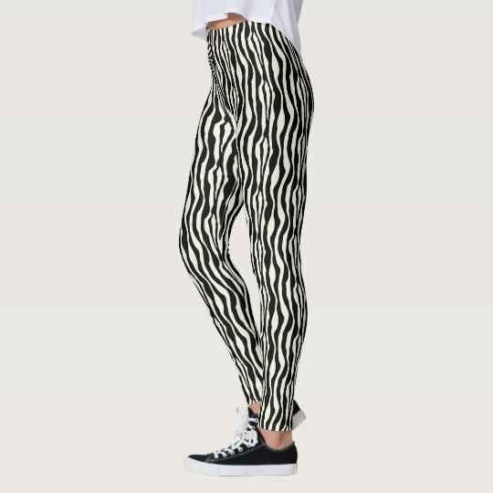 Black and White Zebra Pattern Print Leggings