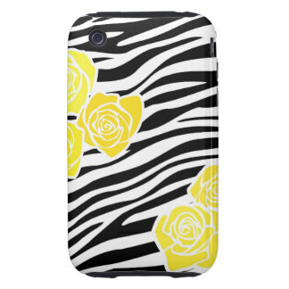 Black and white Zebra pattern + yellow roses iPhone 3 Tough Cases