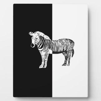 Black and white zebra plaque