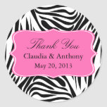 Black and White Zebra Print and Hot Pink Thank You Round Sticker