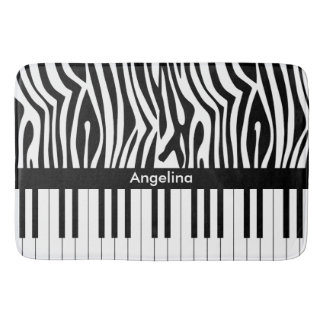 Black and white Zebra print and Piano collection Bath Mats