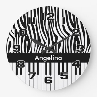 Black and white Zebra print and Piano collection Clock
