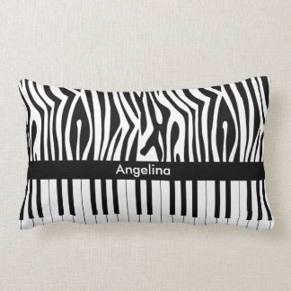 Black and white Zebra print and Piano collection Lumbar Pillow
