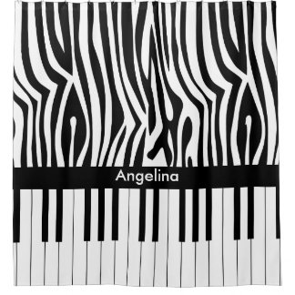 Black and white Zebra print and Piano collection Shower Curtain