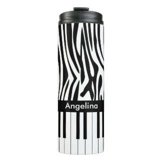 Black and white Zebra print and Piano collection Thermal Tumbler