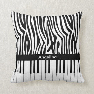Black and white Zebra print and Piano collection Throw Pillow