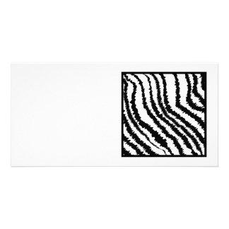 Black and White Zebra Print Pattern. Custom Photo Card