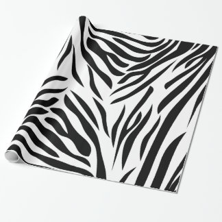 Black and White Zebra Print Pattern Wrapping Paper