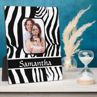 Black and white zebra print plaque