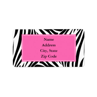 Black and White Zebra Print with Hot Pink Address Label