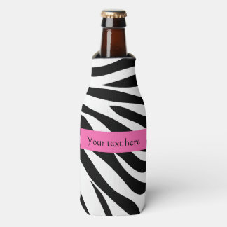 Black and White Zebra Print with Hot Pink Bottle Cooler