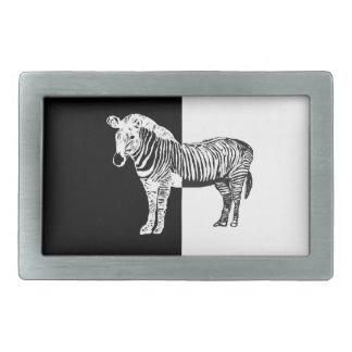 Black and white zebra rectangular belt buckles