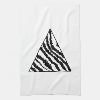 Black and White Zebra Stripe Triangle. Monochrome. Tea Towel