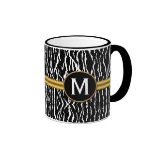 Black and White Zebra Stripe with Gold Ringer Mug
