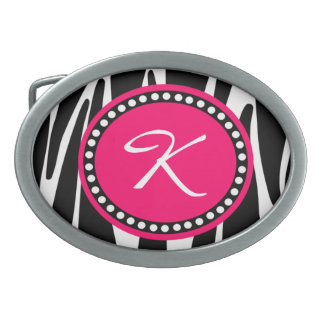 Black and White Zebra Stripe With Hot Pink Initial Oval Belt Buckle