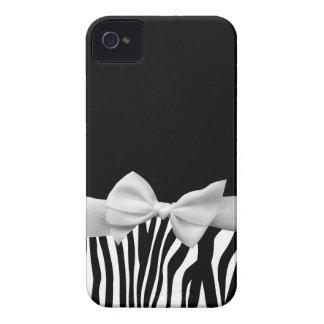 Black and white Zebra stripes and white ribbon iPhone 4 Cover