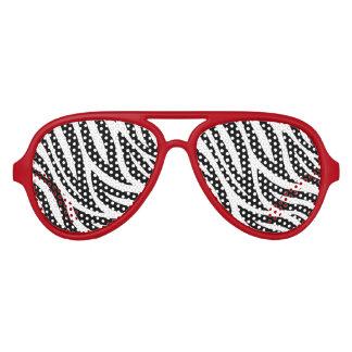 Black and White Zebra Stripes Aviator Sunglasses