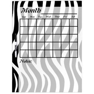 Black and White Zebra Stripes Calendar Dry Erase Board