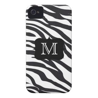 Black and White Zebra Stripes Mongrammed Case iPhone 4 Case