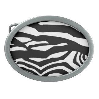 Black And White Zebra Stripes Oval Belt Buckle