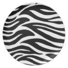Black and White Zebra Stripes Plate
