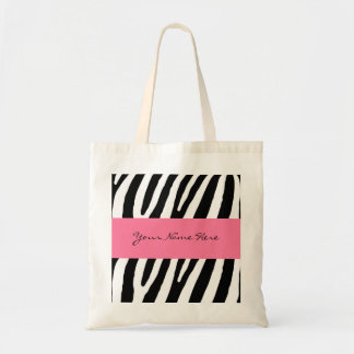 Black and White Zebra Stripes with Hot Pink Banner Budget Tote Bag