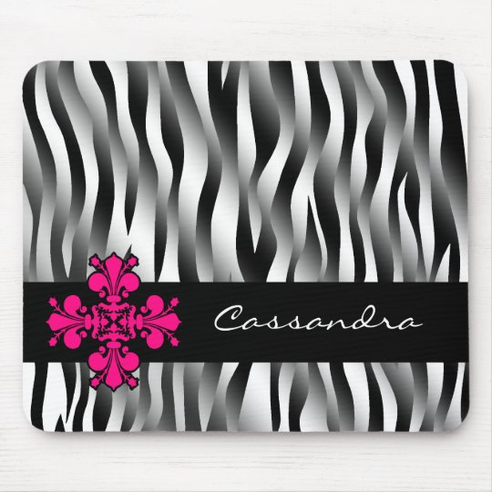 Black and white zebra stripes with hot pink