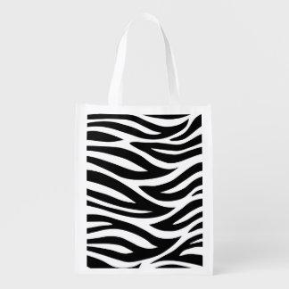 Black and White Zebra Stripes Grocery Bag