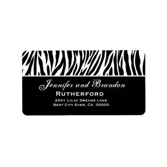 Black and White Zebra Wedding Address Label